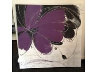 CANVAS PICTURE, Purple, White, silver & black - Ex. Cond