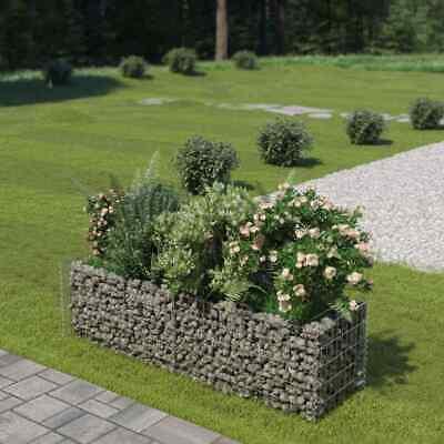 vidaXL Gabion Planter Galvanised Steel 180x50x50cm Stone Basket Raised Bed