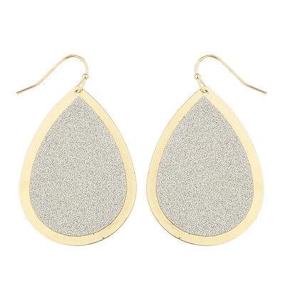 Lux Accessories Goldtone Sticker Glitter Teardrop Disk Dangle Earrings