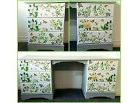Shabby chic dressing table vintage furniture white green and grey. lotto