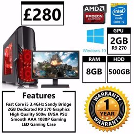 Gaming PC Fast i5 3.4GHz