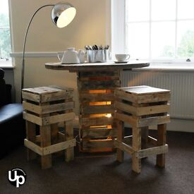 Reclaimed Wood Cable Drum Dining Set with 2 Stools