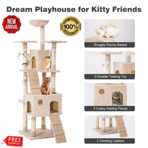 68 Cat Tree Bed Furniture Scratching Tower Post Condo Kitten