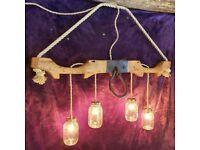 Antique 'Ox Yolk' Pendant Light (with 4 KILNER JARS)