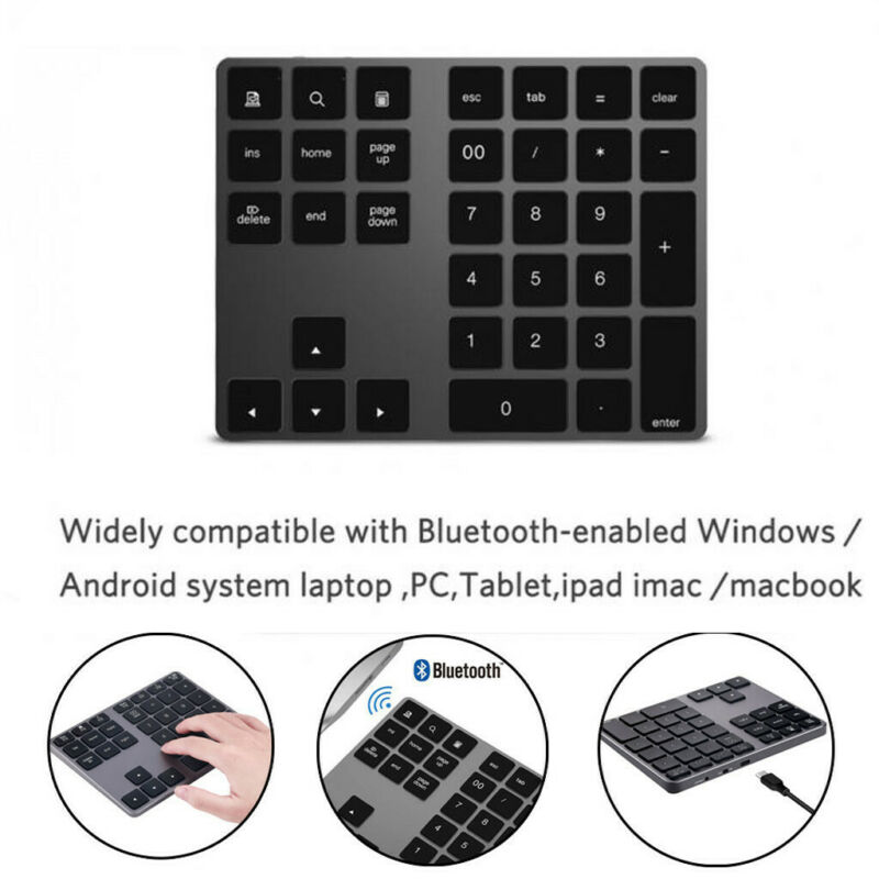 Wireless Bluetooth 34 Keys Numeric Keypad Number Pad Keyboar