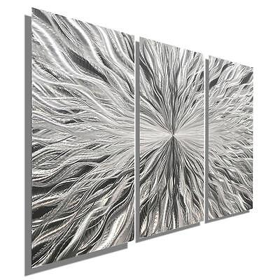 Silver Contemporary Abstract 3 Panel Metal Wall Art Sculpture Decor - Jon Allen