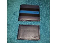 COACH Mens Leather Wallet Midnight Navy Blue Stripes 2 in 1 NEW BNWT NWT