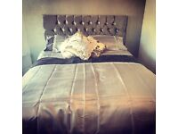 King size crushed velvet bed - silver bran new perfect condition