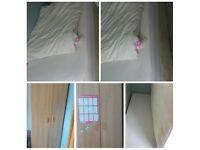 single bed/mattress and walrobe