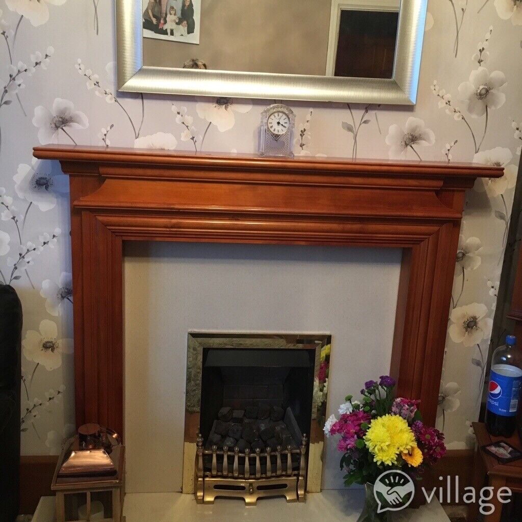 Wooden fire surround marble back and hearth