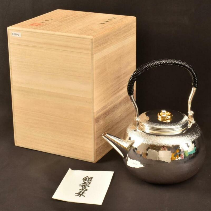 Japanese New Pure Silver Tea Kettle / W 18.2× H 20.5[cm] 486g / Kyusu Pot