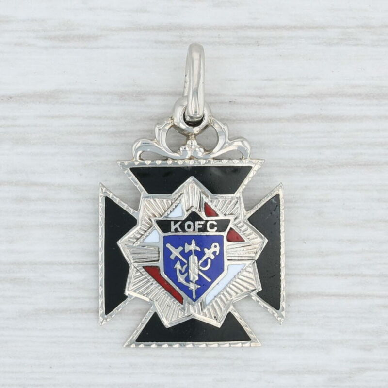 Knights of Columbus Cross Charm 14k Gold Engravable Fob Pendant K of C