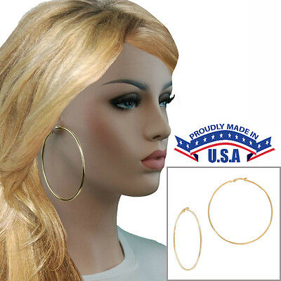 Large Yellow Gold Tone Plain Wire Clip On Hoop Earrings USA Made 3""