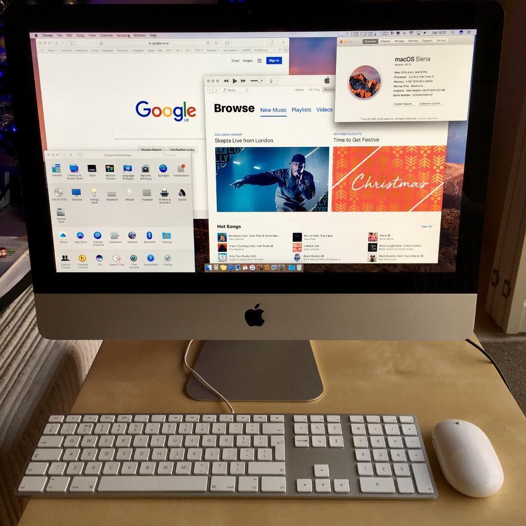 "Apple iMac 21.5"" macOS Sierra 500GB, 4GB, 2.5GHz core i5in Bromley, LondonGumtree - Apple iMac (mid 2011) 21.5"". 2.5GHz i5 Quad Core processor, 4GB DDR3 RAM, 500GB HDD, DVD RW drive. Apple Keyboard and Bluetooth Mighty Mouse. 4x USB (plus 2x USB on keyboard), 1x Thunderbolt, 1x Firewire 800, 1x Ethernet, SD Card reader, Wi Fi. Pre..."