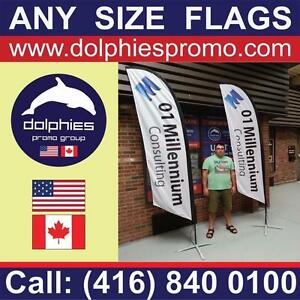Marketing Event Advertising Custom Teardrop or Feather Flag + Double-Sided Graphics + Cross Base + FLAGS Traveling Bag