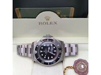 New Mens bagged silver Bracelet black dial automatic sweeping Rolex sea dweller watch with glide