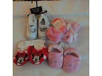 Brand new baby socks next shoes Disney booties and pink booties selling for £5