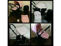 Bugaboo cameleon 3 with soft pink or white extandeble fabric in excellent condition