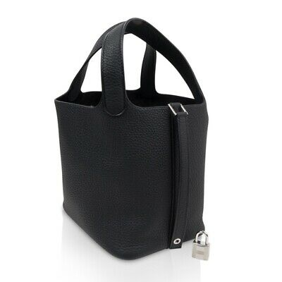 Hermes Picotin Lock 18 Bag Black Clemence Tote Palladium Hardware New