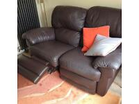 Italian leather 2-seater reclining sofa