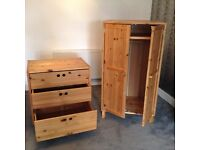 Ikea Pine Nursery furniture - wardrobe and chest of drawers