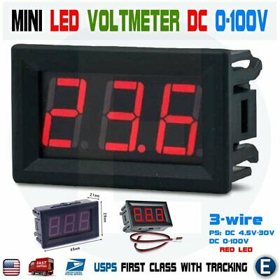 Dc 0-100v 3-wire Mini Digital Voltmeter Tester Module Red Led Display Panel 0.56