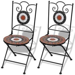 Mosaic Bistro Chair Terracotta / White Set of 2(SKU 41535) vidaXL Mount Kuring-gai Hornsby Area Preview