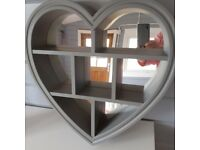 GREY LOVE HEART MIRROR WITH SHELF