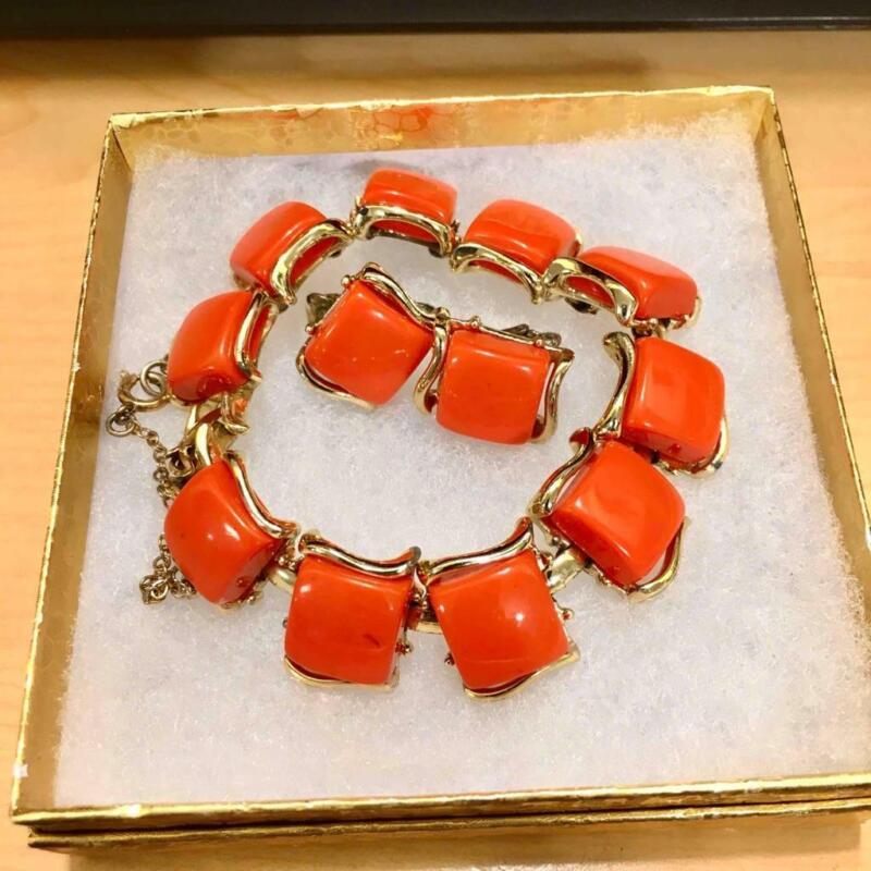 Vtg. Signed CORO Orange Thermoset & Gold Tone Bracelet w/ Matching Clip Earrings