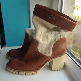 original LACOSTE PARIS brown leather knitwear boots high heels size 39/40