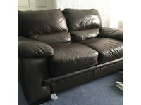 Brown leather sofa, large 2 seater
