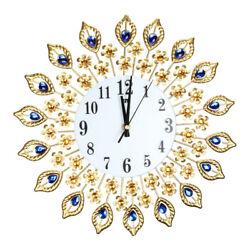 Large Wall Clock Peacock Crystal Diamond Clock for Living Room Home Decor