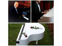 Pro Pianist with White Baby Grand Piano Shell for weddings and events