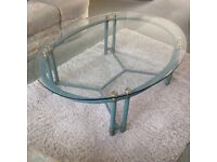Wrought iron and glass oval coffee table