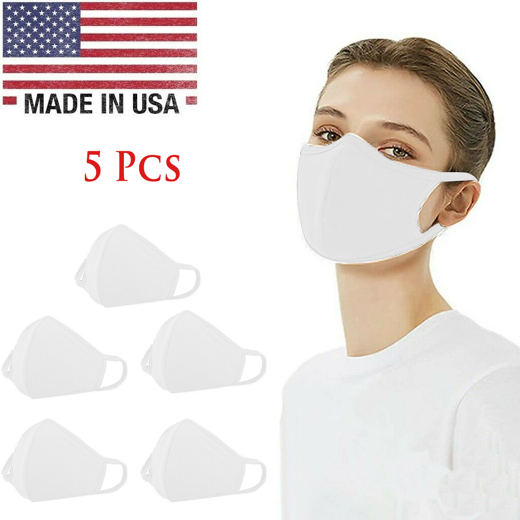 Washable 100% Cotton Face Mask Reusable, White – 5 Pcs in 1 Pack, Made in USA Accessories