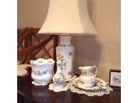 Assortment of Ansley Ware. Lamp, vase etc.