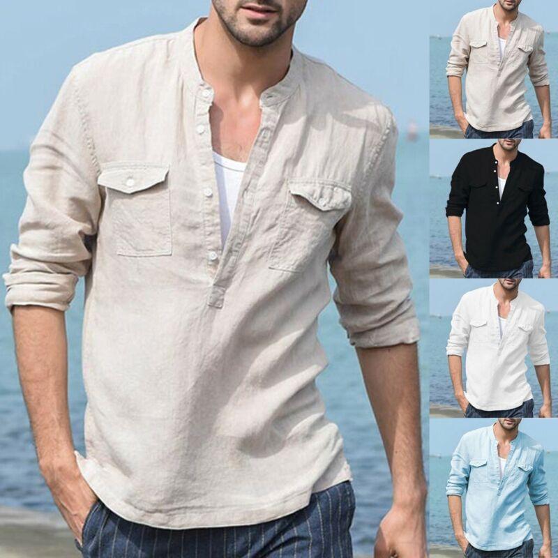 Men's Baggy Cotton Linen Pocket Soild Long Sleeve Retro T Sh