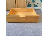 Solid pine under bed drawers