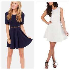 NEW Two Navy & White Skater Dress Size 6-8