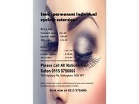 Semi perm eyelash extensions
