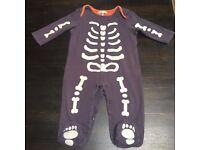 John Lewis Glow in the dark skeleton Baby Halloween Fancy Dress Costume size 9-12 months