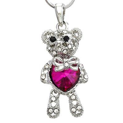 Mothers Valentines Day Pink Teddy Bear Necklace Heart Pendant Charm for Mom Girl - Girl Necklace