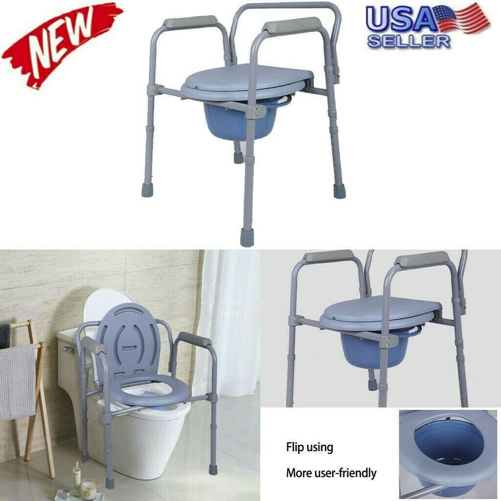 Safety Adult Bedside Commode Chair Potty Toilet Seat Folding
