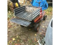 Garden tractor ride on mower and trailer