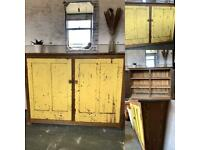 Industrial chic Victorian solid pitch Pine/sideboard/cupboard