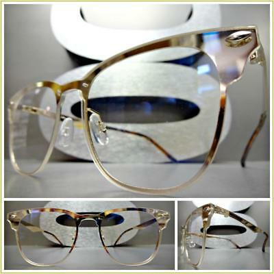CLASSIC VINTAGE 50's RETRO Style Flat Clear Lens EYE GLASSES Gold Fashion Frame](50s Style Glasses)