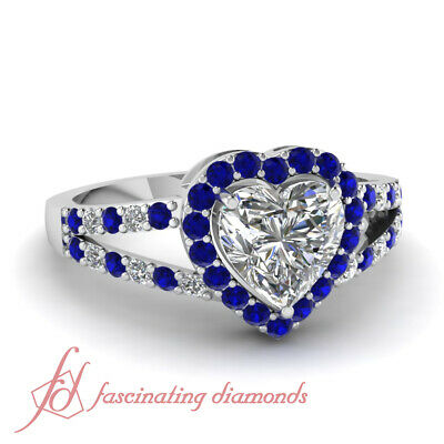 Round Blue Sapphire Halo Split Engagement Ring 0.90 Ct Heart Shaped Diamond GIA