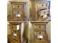3 Drawer Corona Bedside Table Unit - Oak