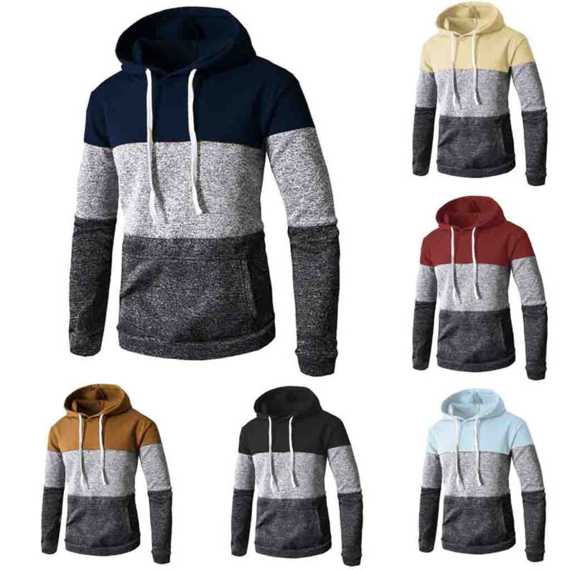 Mens Patchwork Winter Casual Long Sleeve Slim Pocket Fit Hoodies Blouse Jacket