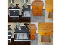 2 X solid wood bedside drawers bedroom furniture